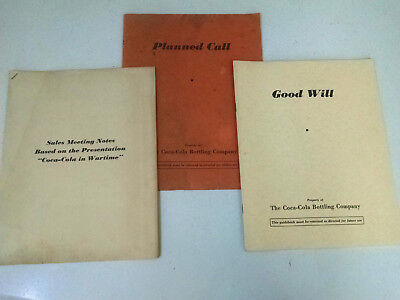 Coca-Cola booklet-1940-PLANNED CALL-GOOD WILL-SALES MEETING NOTES-3 total-1940's