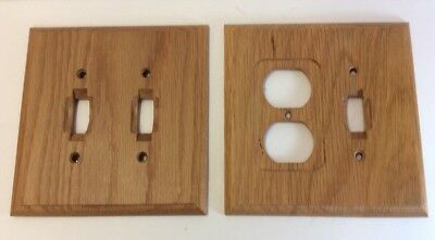Set Of Two Wood-Dbl Light Switch & Lite Switch/outlet Cover Plates