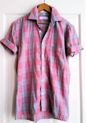 Vintage Christian Dior Shirt Pastel Plaid PolyCotton Small Unisex Button Down