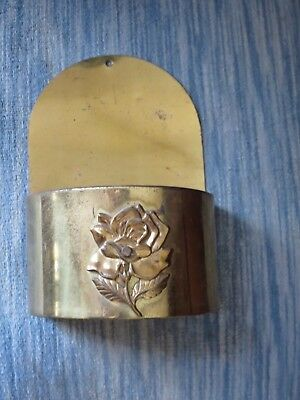 Vintage Brass Finish Wall Mounted Fireplace Match Holder ROSE