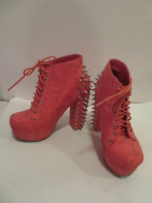 Womens Vintage Coral/pink Leather Laced-Up Booties W/spike Studs Size 6