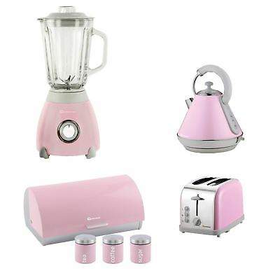 Set of Electric Kettle, Toaster, Blender, Bread Bin & 3 Canisters - Pink