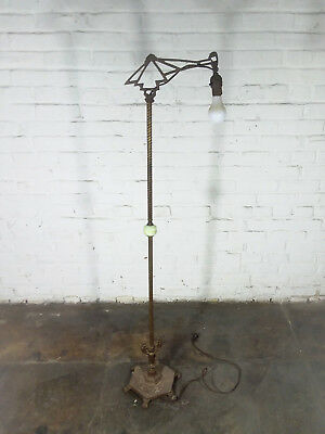 Antique Bridge Floor Lamp Green Glass 1920's 1930's Art Deco