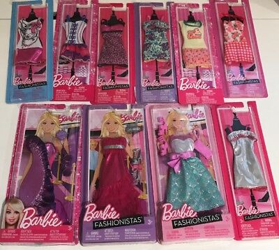 Lot Of 10 Mattel Barbie Fashionista Dresses New - Great Gift! Free Shipping!