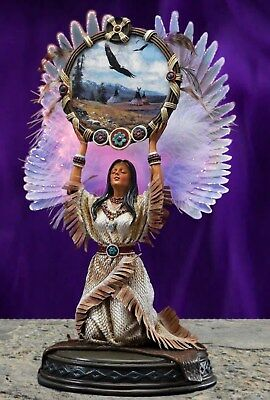 Lighted Native American Angel Maiden with Dream Catcher Figurine