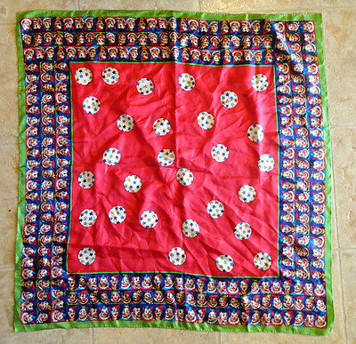 "Circus Clown Silk Scarf Perry Ellis Under the Big Top Clown Faces 31.5"" Square"