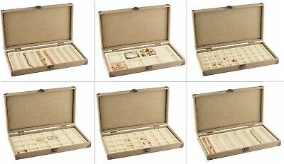 SOLID TOP BURLAP WOODEN CASE JEWELRY BOX DISPLAY CASE w/ Beige LINER SHOWCASE