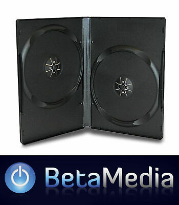 100 x Double Black 14mm Quality CD DVD Cover Cases - Standard Size DVD case