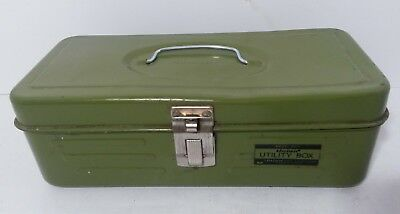 Vintage Union Steel Chest Corporation Utility Box Army Green  11.5""