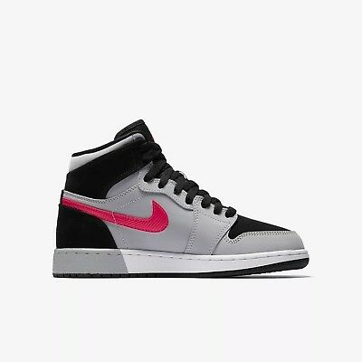 Nike Air Jordan 1 Retro High Hi Black/deadly Pink/grey Women Girls Youth Sz Bnib