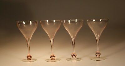 Set 4 Lovely Pink Hollow Stem Champagne Glasses c.1980