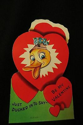 Vintage DUCK Valentine Card c. 1960s unsigned