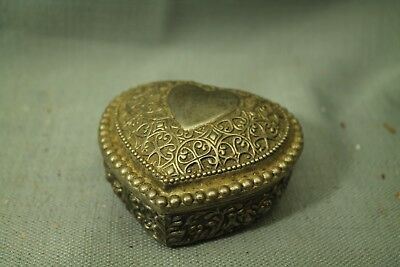 vintage old metal ornate Victorian style Heart shaped jewelry trinket box