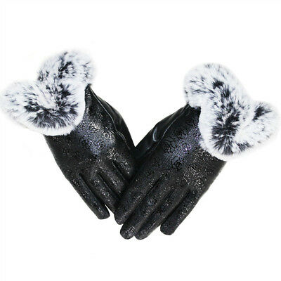 Women's Leather Gloves Soft Fur Cuff Warm Thicken Fleece Lining Mittens Driving