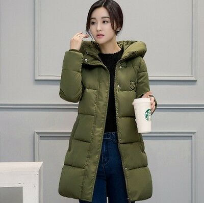 2016 Vogue Women Winter Warm Slim Cotton Padded Coat Thicken Hooded Outwear Long