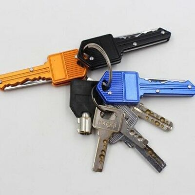 1pc Outdoor Pocket Key Shaped Folding Keychain Stainless Steel Self-defense Tool