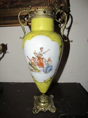 Antique Hand Painted Porcelaine Vase With Brass Base And Top 13""