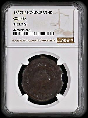 - 1857T F Honduras 4 Reales - Copper , Sunface Tree  Coin  - NGC F-12 BRN  -