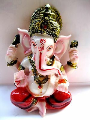 "6"" GANESHA STATUE Hindu Elephant God HIGH QUALITY Multi color Resin Ganesh Idol"