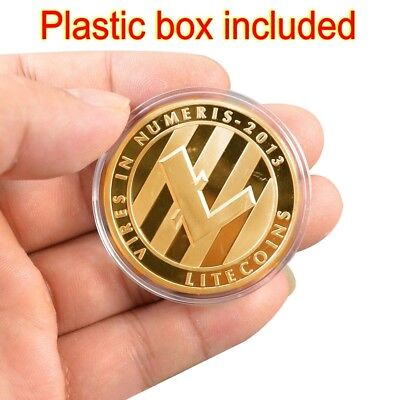 Litecoin!Gold Plated Physical Bitcoin in protective acrylic case FAST SHIPPING