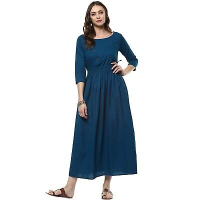 Indian Teal Blue Cotton Kurta Women's Ethnic Kurti Size S,M,L,XL, & 2XL Dress