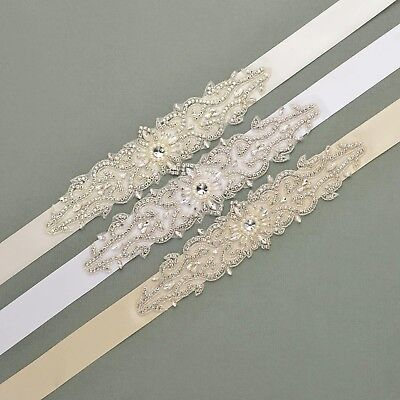 Pearl and Rhinestone Sunflower Detailing Embellishment Sash Belt for Wedding