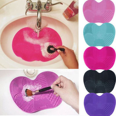 Silicone Makeup Brush Cleaner Cleaning Cosmetic Scrubber Board Mat Pad Tool LK