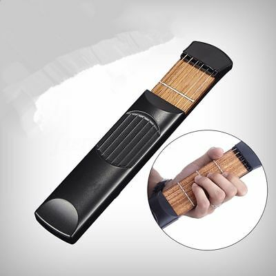 Portable 6 Fret Travel Acoustic Wooden Pocket Guitar Trainer Chord Practice Tool