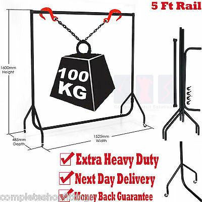 SUPER HEAVY DUTY CLOTHES RAIL 5ft Long x 5ft High Metal Garment Hanging Rack NEW