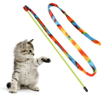 cat dancer - charmer rainbow teaser stick kitten wand colorful interactive toy S