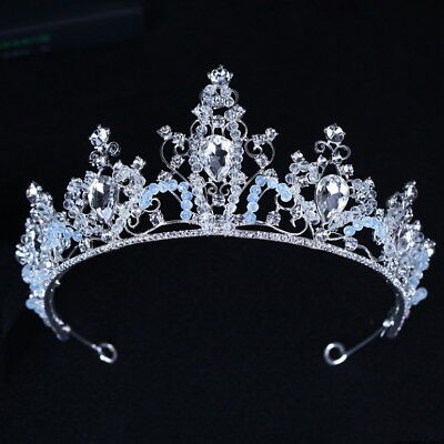 Clear Light Blue Drip Crystal Beads Wedding Party Pageant Prom Tiara Crown