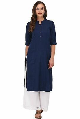 women's Navy Blue Solid Cotton Kurta with two patch pockets Size S,M,L,XL, & 2XL