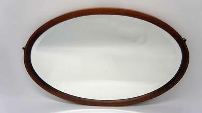 Large oval Edwardian Mahogany  overmantle mirror 89 cm x 59 cm