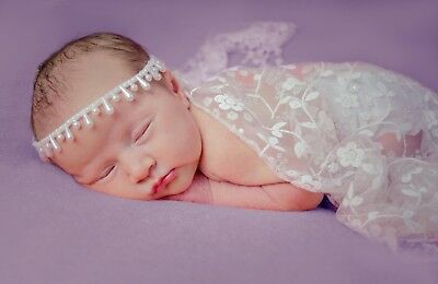 Handmade Pearl Detail Droplet Headband in Ivory/ White - Christening, Photo Prop