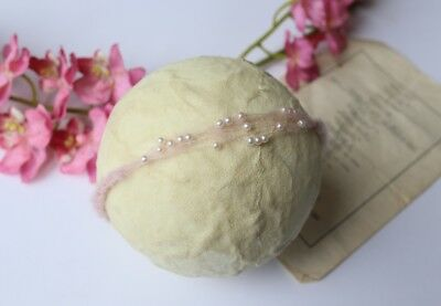 Handmade Baby Pink Mohair Tieback Headband with Pearl Spray Newborn Photo Prop