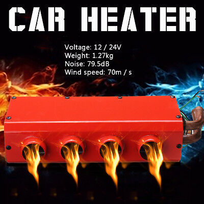 24/12V Universal Car 4 Port Iron Compact Heater Defroster Heat Biaxial Flow Fan