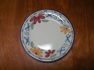 "Staffordshire England BOLERO Set of 5 Salad Plates 7"" Blue Yellow Flowers"