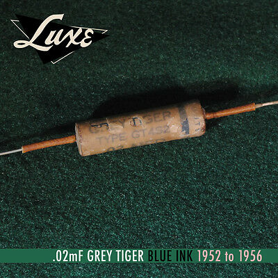 LUXE 1952-1956 Grey Tiger Wax Impregnated PIO .02mF Capacitors Black