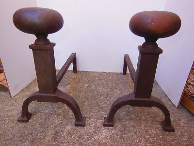 Vintage Bradley and Hubbard Andirons Arts and Crafts Fireplace Cast Iron