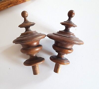 2 ANTIQUE WOODEN POST FINIAL END CAP Architectural salvage 5.53""