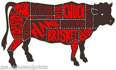 1300X775Mm Large Meat Cuts Cow Butchers Printed/Laminated Vinyl Sticker Decal