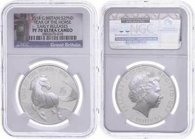 48380) 2 Pounds, 2014, Year Of the Horse, NGC PF70 Ultra Cameo, Early Releases