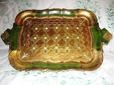 Green Gilt Gold Italian Florentine Wood Tole Vintage Buffet or Dresser Tray