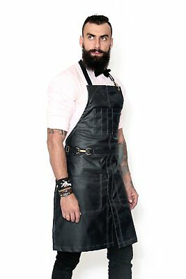 No-Tie Apron - Coated Jet Black Denim - Black Leather - Split-Leg