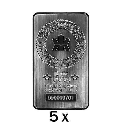 5 x 10 oz Silver Bar RCM - Royal Canadian Mint