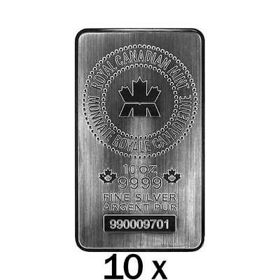 10 x 10 oz Silver Bar RCM - Minted - Royal Canadian Mint