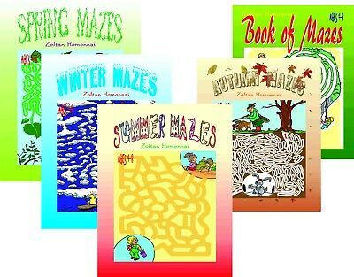 lot 5 books 4 Sessons + Book of Mazes Children Coloring Puzzles for kids