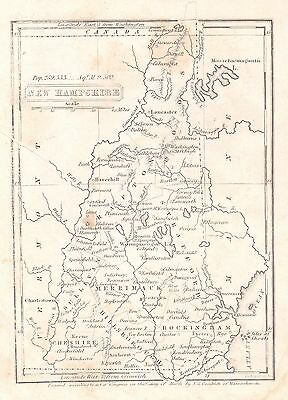 Original 1836 Pre-Civil War Antique Map NEW HAMPSHIRE Nashua Dover Keene Rye NH