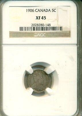 NGC 1906 5 cents XF45 Canada 2028280-148