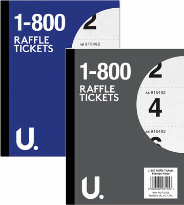 book of raffle cloakroom tickets duplicate number pad 1 800